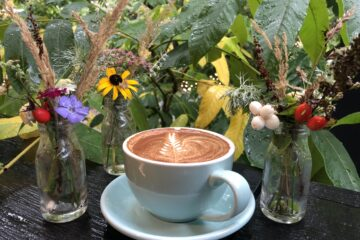 latte art and flowers